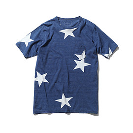 SOPHNET. - INDIGO BIG STAR CREW NECK POCKET TEE