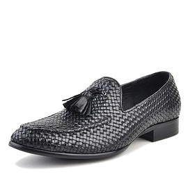 cwmalls - Dallas Black Tassel Woven Leather Loafers