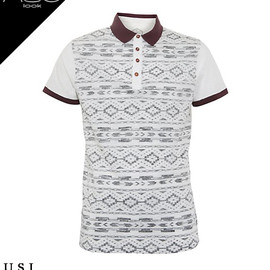 New Look - White Aztec Print Polo Shirt(267917811)