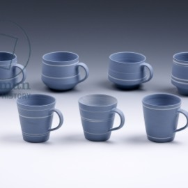 Lucie Rie - Cups for Wedgwood, 1963 (blue & white jasperware)
