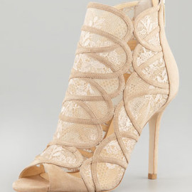JIMMY CHOO - Fauna Lace-Suede Cage Sandal, Nude