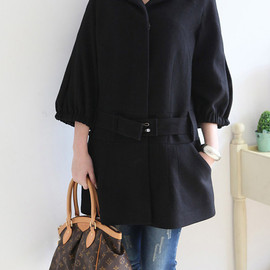 MaLieb - Stand-up collar Covered button Wool coat
