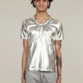 Maison Martin Margiela - 10 Men's Silver Treated Cotton T-Shirt