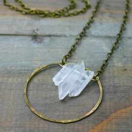 xVELVETx - Triple Quartz Point and Brass Circle Necklace