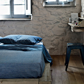 青いベッドカバー - Eco cotton bedspread collection of emotion-Zucchi