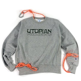 UTOPIAN PROJECTS - Champion Reverse Weave Crew Sweatshirt UP03 OxfordGreyArmy