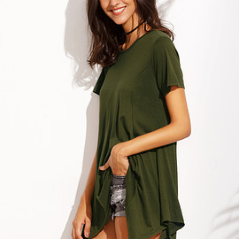 Romwe - Army Green Asymmetrical T-shirt
