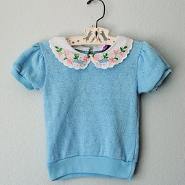 Beautiful vintage little girl baby girl blue spring sweater #babygirl #vintagebaby