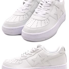 A BATHING APE - WHITE LEATHER BAPESTA