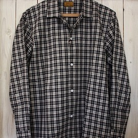 BROWN by 2-tacs - OPEN COLLAR CHECK SHIRT