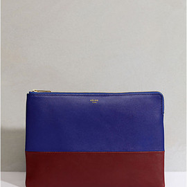 CELINE - Solo Bi-Colore Clutch Pouch (Bleu Royal × burgundy)