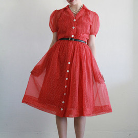 vintage - Vintage 50s Dress and Slip . Sheer Red White Swiss Dot . Mid Century 1950s