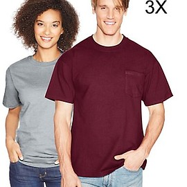 Hanes - Beefy-T Adult Pocket T-Shirt/Light Steel