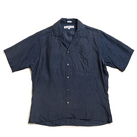 INDIVIDUALIZED SHIRTS - Athletic Fit Camp Collar Shirts S/S-Navy