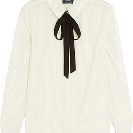 A.P.C. - Pussy-bow printed cotton-crepe shirt