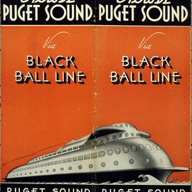 Seattle's Black Ball Line ferry timetable, featuring the Kalakala,