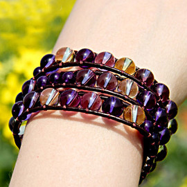 alanatt - Birthstone Collection: February Ametrine and Silver Beads Bracelet