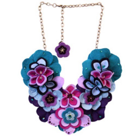 "KYOTO CARNIVAL ""HONEYCOMB"" COUTURE FELT FLOWER DROP EARRINGS"