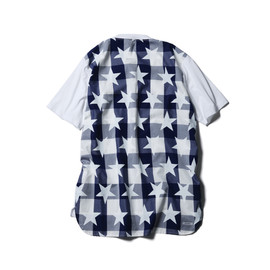 SOPHNET. - BACK PANEL LONG POKET TEE (BIG STAR GINGHAM CHECK)/WHITE (NAVY GINGHAM)