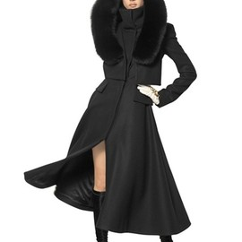 Alexander McQueen - WOOL FELT COAT W/ FOX FUR TRIM