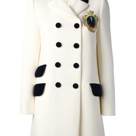 MOSCHINO - embroidered crest peacoat