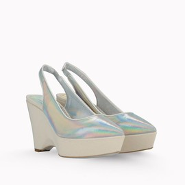 Stella McCartney - Nathalie Hologram and Canvas Wedges