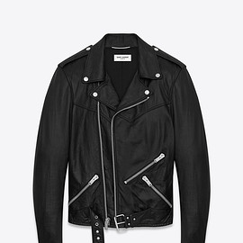 Saint Laurent paris - LACEUP MOTORCYCLE JACKET (BLACK / LEATHER)