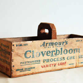 Vintage Wood Cheese Box with Handle