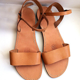PennyHandmade - Leather Sandals genuine with straps handmade greek style