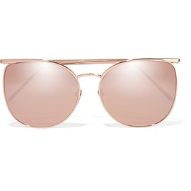 Linda Farrow - Square-frame rose gold-tone mirrored sunglasses