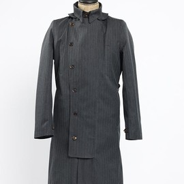 Norwegian rain - DOUBLE BREASTED RAINCOAT BLACK/CHARCOAL HERRINGBONE