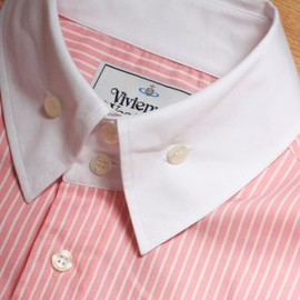 Vivienne Westwood MAN - Contrast Collar Stripe Shirt in Pink