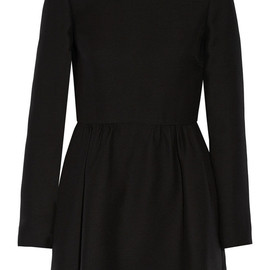 VALENTINO - Leather-Collar Crepe Bambolina Dress