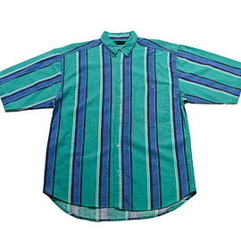 VINTAGE - Vintage 90s Teal/Blue Striped Button Up Shirt Mens Size Medium
