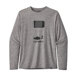 patagonia - M's Long-Sleeved Capilene® Cool Daily Graphic Shirt, Live Simply Happy Hour: Feather Grey (LSHG)