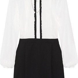 Alice + Olivia - Kara embellished ruffle-trimmed chiffon and stretch silk-crepe playsuit