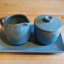 Heath Ceramics - Creamer & Sugar Bowl w/Tray Blue #115, 116 Coupe Line