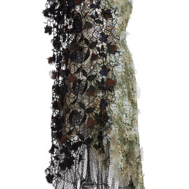 RODARTE - SS2015 Sea Foam Hand Painted Dress In Hand Embroidered And Macrame Lace With Swarovski Crystals