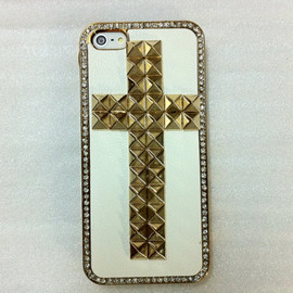 Casemoda - New Chic Punk Bling Sparkle Gold Color Studded Cross Rhinestones iPhone Case