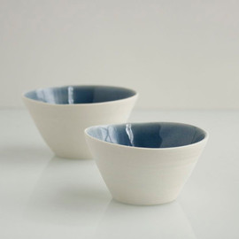 Salt and Pepper Bowls in Sapphire Blue and White Porcelain