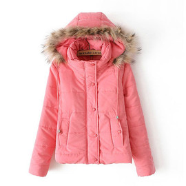 Solid Color Stand Collar Quilted Padded Jacket Short Hooded Coat