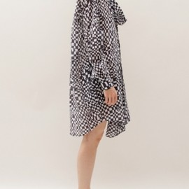 Bless - Neckerchief Dress- Black/white check 1