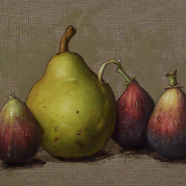 Fine Art America - Clinton Hobart - Pear and Figs Painting  - Pear and Figs Fine Art Print