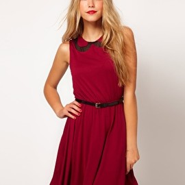 asos - Image 1 of ASOS Skater Dress With Chiffon Collar And Belt