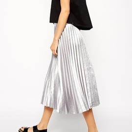 asos - ASOS / Pleated Midi Skirt in Metallic