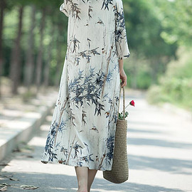 Printed long dress - Women Printed long dress cotton and linen round collar dress