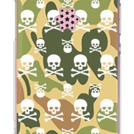 SECOND SKIN - Skull monogram ウッドランド迷彩 (クリア) design by ROTM / for HONEY BEE 101K/SoftBank