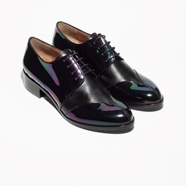 & other stories - & Other Stories   Oily Leather Lace-Up Flats