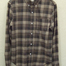 BAND OF OUTSIDERS - B.D.SHIRT BRUSHED COTTON SQUARE TRIPLE CHECK BROWN
