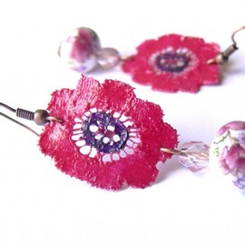 Luulla - Fashionista Original Pink Handmade Lace Earrings, OOAK